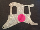 BRAND NEW Silver White Pearl 3 Ply HH Strat Scratchplate/Pickguard by Warmoth with Protective Film