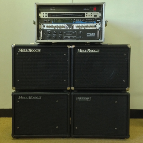 Professional Guitar Tour Rig Comprising of Stereo Tube Power Amp Randall RT2/50, Mesa Boogie V-Twin Modded Preamp, Lexicon MPX1 Ver 1.1 Dual Engine DSP, Korg DTR-1 Digital Tuner, Power Base PB 4x4 and Mesa Boogie Black Shadow EVML Vintage Closed and Open